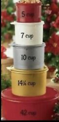 Tupperware Stacking Flat Canister Set /5 Gold Silver White Holiday Red Canisters