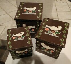 Three Vintage Hand Painted Metal Tin Nesting Storage Canisters Bird Design