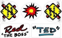 Williams Roadshow Pinball Machine Red And Ted Helmet Decal Set
