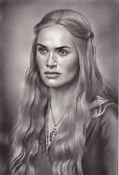 Game Of Thrones Cersei Lannister Art Charcoal Drawing 8x12 Original