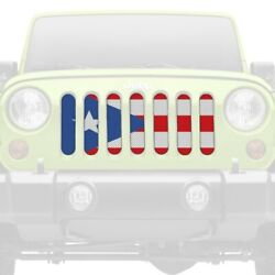 For Jeep Wrangler 97-06 1-pc Puerto Rico Flag Style Perforated Main Grille