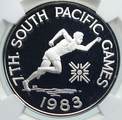 1983 Samoa Uk British South Pacific Games Proof Silver 10 Tala Coin Ngc I87425