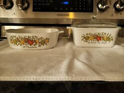 Vintage 2 Piece Corning Ware Spice Of Life P-4-b W/lid And A-2-b 1.5 And 2 Quart