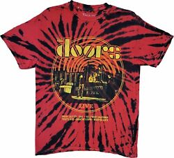Menand039s The Doors 1968 Hollywood Bowl Tie Dye Retro Vintage Rock Band T-shirt Tee