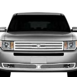 For Ford Flex 13-15 Grille Kit Lexani 2-pc Zurich Style Chrome Mesh Grille Kit W