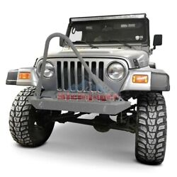 For Jeep Wrangler 97-06 Stubby Gray Hammertone Front Winch Hd Bumper W Stinger