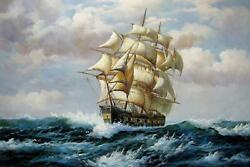Tall Ship Sailing 24x36 In. Stretched Oil Painting Canvas Art Wall Decor Mod107