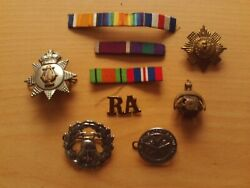 Vintage Job Lot Of Military Cap Badges And Unimounts Stripe Ribbons X9 Items.