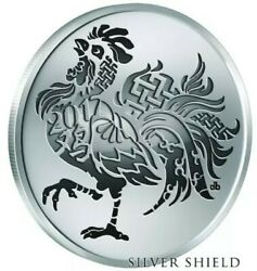 1 Oz 999 Pure Silver Shield Reverse Proof Year Of The Rooster V2 Round Coin Sbss