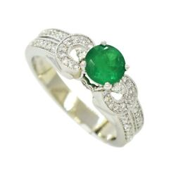 White Gold Emerald Ring With Diamond Accents In Fine Pave Setting Antique Style