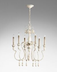 Chantal French Country Antique White Chandelier 6 Light Wood And Iron Cyan 05713
