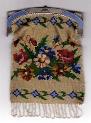 Russian Silver Enamel Frame Faberge With Beadwork Purse