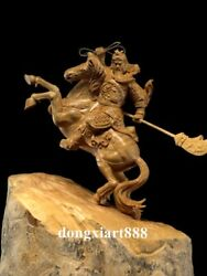 Chinese Lobular Boxwood Hand-carved Guan Gong Ride Horse Steed Soldier Statue