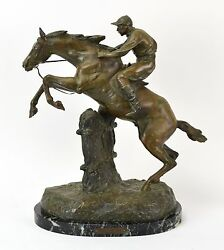 Saut D'obstacle Steeplechase Equestrian Horse Jumping Spelter Bronze Aft Bofill
