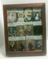Holy Saint Relics In Glass Front Display Case Blessed 12 Saints 9in By 11 In