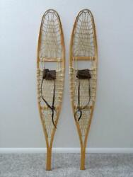 Vintage Made In Usa 56 In Wooden Frame No 100t Snowshoes 10 X 56