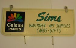 Large 32 Old Vintage 1970s Colony Paints Paint Advertising Sign Sims Paint Art