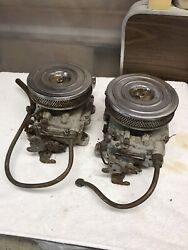 Pair Of 327 Holley Quads With Air Cleaners Fuel Lines Oem