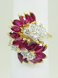 Natural 3.30ct Tw Ruby And Diamond Cocktail Ring 18k Gold Size 6 Gemworld