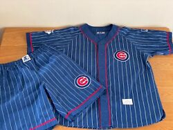 Rare Chicago Cubs Starter Pinstripe Jersey And Shorts Size L Collector Mlb Vintage