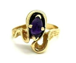585 14kp Plumb Solid Yellow Gold 0.48ct Amethyst Ring Size 6 4.27grams 12-4-16