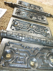 Two Antique Cast Iron Very Ornate 3.5x3.5 Steeple Tip Hinges 102720 D