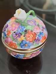 Herend Small Potpourri Ball Jar Chintz Pattern With Openwork Flower Finial