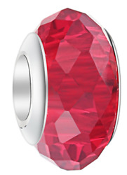 July Ruby Red Birthstone Charm Bead Eurostyle Pandora Sized Four Pieces For You