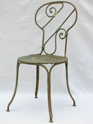 19th Century French Garden Chair With Green Patina