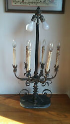 Vintage Gothic Spanish Revival Candelabra Style Table Lamp