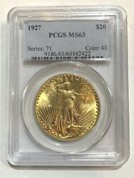 1927 20 Pcgs Ms-63 Gold Double Eagle Saint Gaudens Coin
