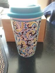 Longaberger Pottery Paisley Double Wall Travel Mug With Silicone Lid