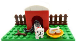 NEW LEGO BULLDOG in DOGHOUSE LOT minifig figure city town bull dog house pet