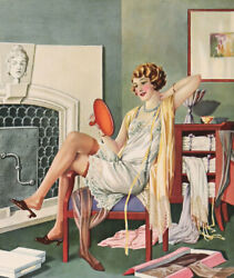 Vintage 1920s Art Deco Pin-up Poster Calendar Blank Very Chic Flapper Stockings