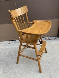 Vintage Solid Oak Wooden Baby Youth Feeding High Chair Removable Tray 1985