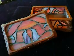 Vintage Disney Tinker Bell Stained Slate Glass Jewelry Box Signed