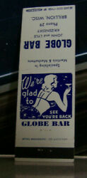 Vintage Matchbook Cover A4 Brillion Wisconson Globe Bar Lovely Design Pin Up