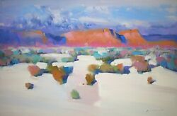 Path To Desert, Landscape, Original Oil Painting, Handmade Art One Of A Kind