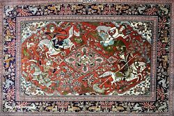 Persian Ghom Carpet Pure Organic Silk. Mint Condition And Newly Washed Signed