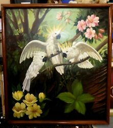 Magnificent Large Rare Mural Of Cockatiels Oil On Canvas Painting - 76 By 68