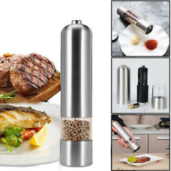 Light Up Electric Salt And Pepper Mill Electronic Grinder Pots Batteries Power Us