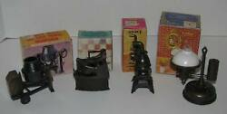 New In Box 4 Die Cast Metal Pencil Sharpeners Lamp, Cement Mixer, Iron, Stove