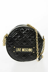 MOSCHINO women Shoulder Bags LOVE Faux Quilted Leather NEW SHINY Bag Black C $213.52