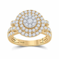 14kt Yellow Gold Womens Round Diamond Circle Cluster Ring 1-1/3 Cttw