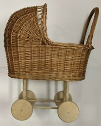 Wicker Baby Doll Carriage Stroller Buggy W/ Wood Wheels No Brand,