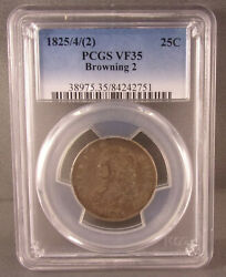 1825/42 Browning 2 P United States Bust Silver Quarter - Pcgs Graded Vf35