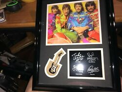 The Beatles Sgt Peppers Framed Photo And Facsimile Autographs And Mini Guitar