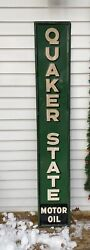 Vintage Quaker State Motor Oil Embossed Vertical Sign 6ft High Made In Usa 1940s