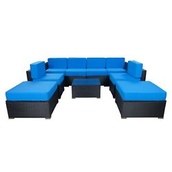 Mcombo 9 Pieces Wicker Patio Furniture Set Outdoor Sectional Sofa 6082-9pc
