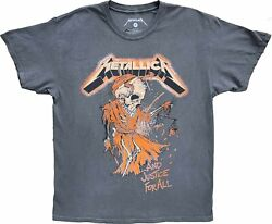 Mens Metallica And Justice For All Grey Vintage Retro Rock N Roll T-shirt Tee New